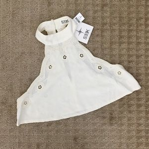 LF Seek The Label Embroidered Eyelet Halter Crop!